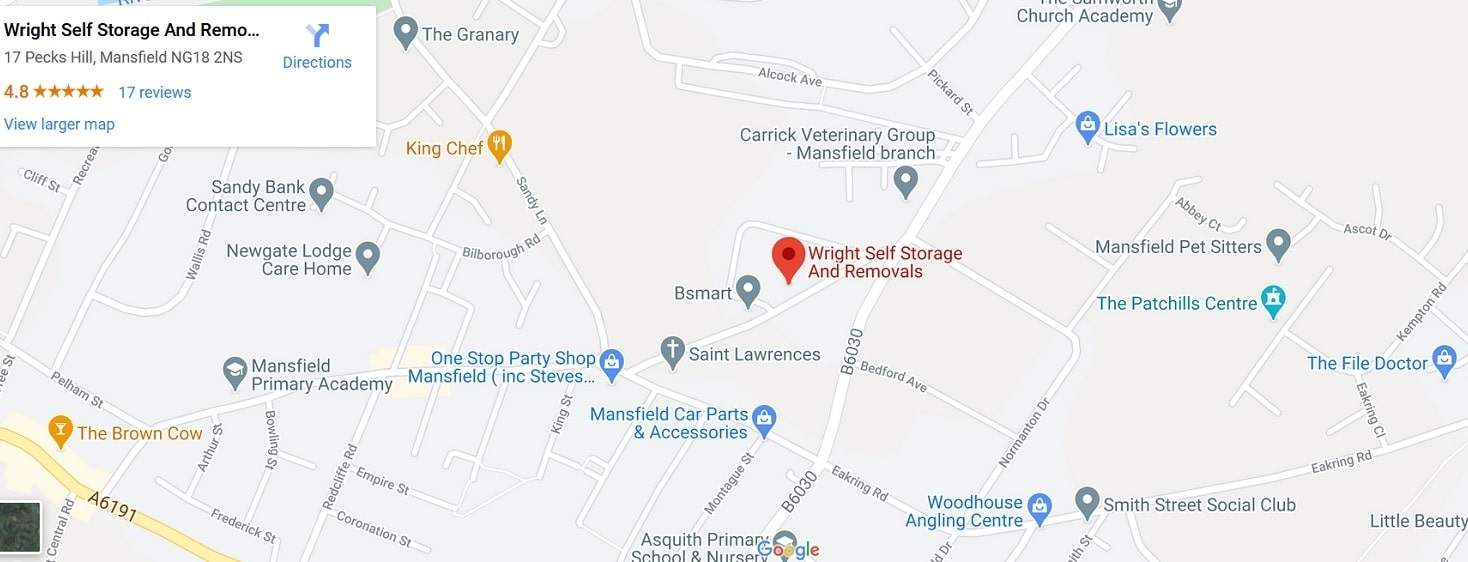 wright self storage mansfield uk map